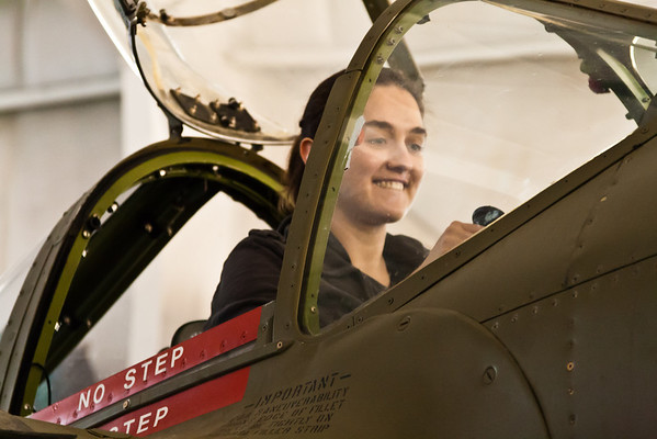 Felicity at the controls of a P-38
