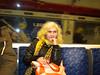 Liz doing her best tube traveler impression at chancery Lane on <br /> <br /> central Line