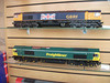 Hattons model Shop Liverpool <br /> <br /> Window Display <br /> <br /> These are G scale Class 66's <br /> <br /> & i know they dont look that big but you gotta see these things they are well cool about 2 foot long and detail is amazing plus you can get Container Flats to run behind em complete with DHL containers how cool that running round your Garden serious DING DONG as Leslie Phillips would say