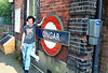 Ongar   2nd July 1993   me & a mate decided to go and get the Ongar Branch in before it was closed for good, Bloody hot day but well worth the trek across london on the Central line to get to Epping in  time for the First peak hour service to Ongar so a pic of yours truely by the station sign had to be done