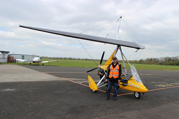 Pic by Geoff Bell   Barton   19th April 2014  This all do me   Home James   Ghost Station Man   sees him self as the James Bond with a Micro Light   at Barton