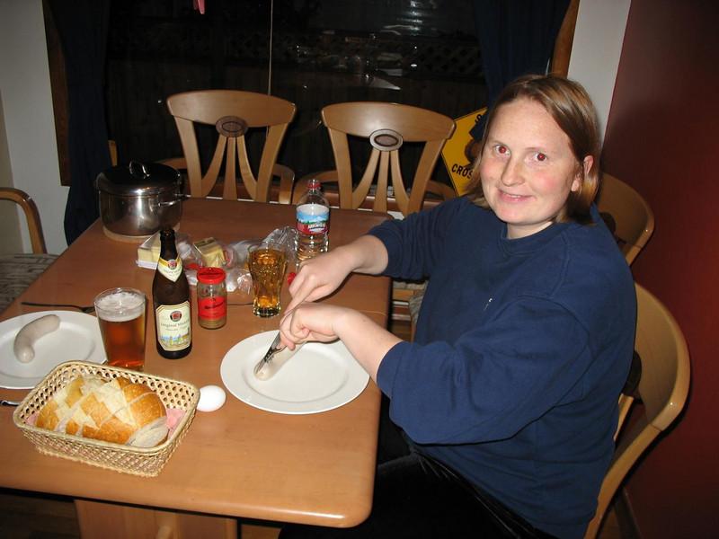 Weisswurst-Abendessen ohne Bretzen