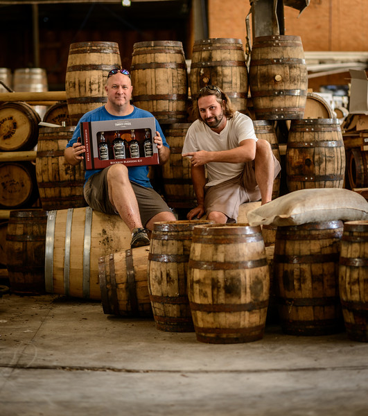 Cam Ford and Aaron Barns with Bourbon Barrels at Timber Creek
