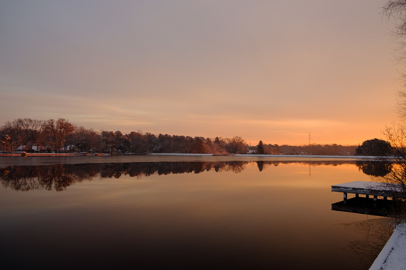 Snowy Sunrise On Spruce Lake