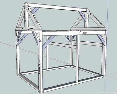 """The Shed. 12' x 16' Traditional timber frame construction. Most of the timbers are 5""""x8"""" Oak."""