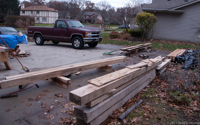 Autumn turned to near winter almost over night shutting down outside framing activities. So I took the day to restack all teh timbers and pack the completed ones away for the winter.