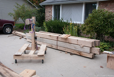 All the other timbers stacked out of the way in the order I will need them.  They are heavy, so the less I have to move thme, the better.