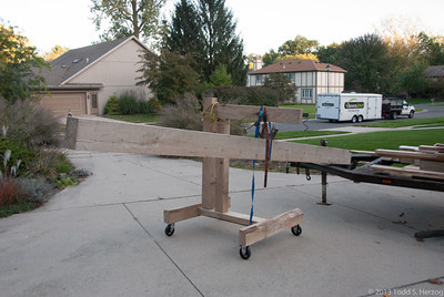 """I made this """"crane"""" to pick the timbers off the trailer and move them to the cribbing. A real back saver!"""