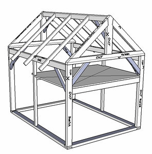 """Frame showing the rafters, sills and the """"loft"""""""