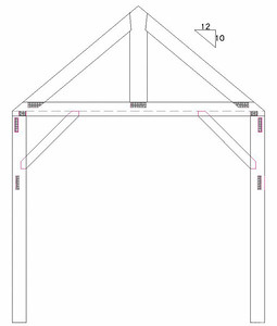 """The Bent Plan.  (2) Posts, (1) Tie Beam, (1) King Post, (2) Rafters and (2) 30"""" Braces"""