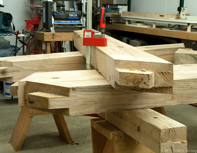 As heavy as the timbers are, they still move when I chop on them, so I have every thing clamped together.