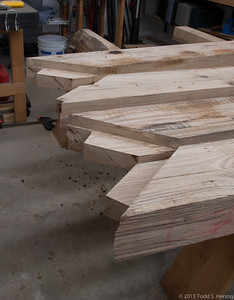 The Tie Beam end of the rafters rough cut.  Clean-up time.