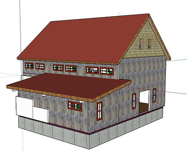 This structure is supposed to look like a old western mine building.  It will be clad with  board & baton siding. The window placement should flood the interior with sunlight all year long.