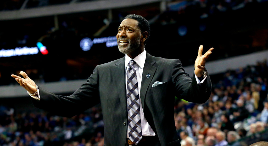 . Minnesota Timberwolves head coach Sam Mitchell argues a call during the first half of an NBA basketball game against the Dallas Mavericks Wednesday, Jan. 20, 2016, in Dallas. (AP Photo/LM Otero)