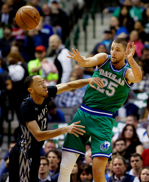 . Dallas Mavericks forward Chandler Parsons (25) passes off the ball against Minnesota Timberwolves forward Tayshaun Prince (12) during the first half of an NBA basketball game Wednesday, Jan. 20, 2016, in Dallas. (AP Photo/LM Otero)