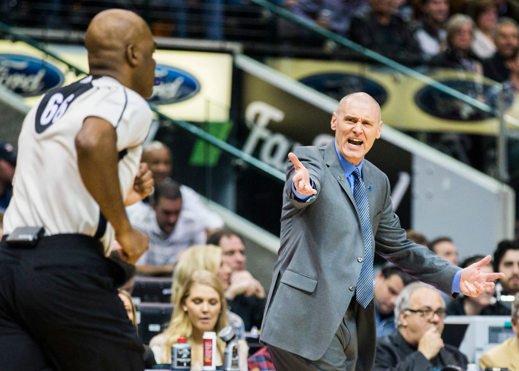 . Dallas Mavericks head coach Rick Carlisle yells at referee Haywoode Workman (66) during the second quarter against the Minnesota Timberwolves on Wednesday, Jan. 20, 2016, at the American Airlines Center in Dallas. (Ashley Landis/Dallas Morning News/TNS)