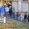 Buyers line-up at the Raytown, Mo. estate sale that is scheduled to open at 11:11 AM. Photo made @ 10:58:00, 11.11.11.