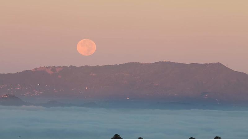 Full Moon Setting over Mt Tamalpais
