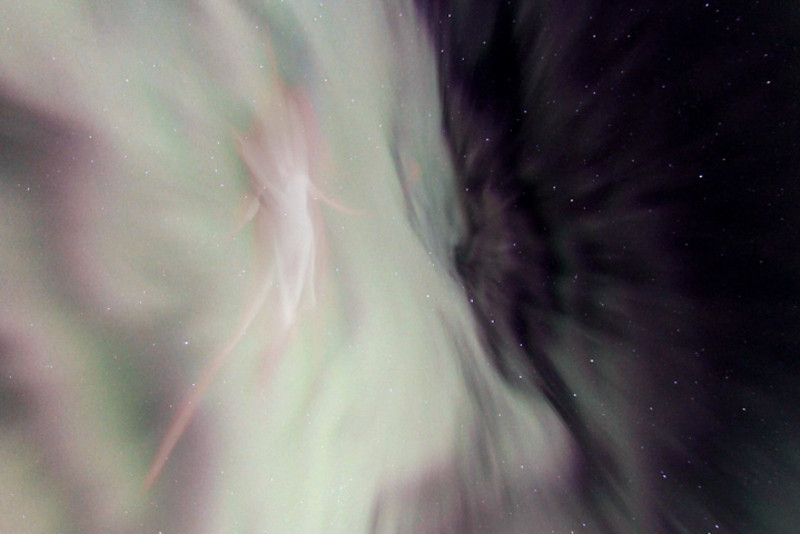 """Scene out of """"The Divine Feminine"""" - Image 1  of an auroral display in Alaska merging with aurora-inspired paintings by Linda DeHart, create an ethereal Divine Feminine enfolding the archetypal gestures of dancer Meg Brooker.  Aurora photography and audio composition/production by Dirk Obudzinski Dance photography and visual compositing by Christopher Graefe <a href=""""http://colorsinmotion.com/"""">Colors in Motion</a>"""