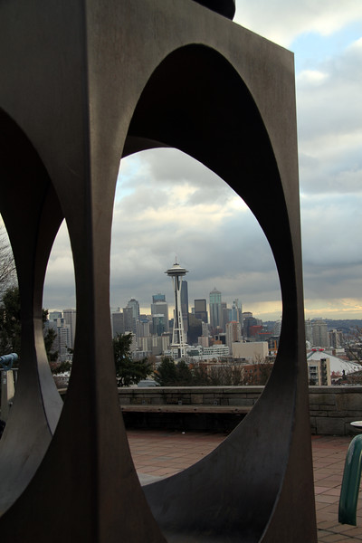 Kerry park artwork and the Space Needle.