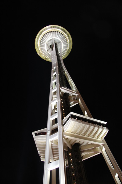 Looking up at the Space Needle.