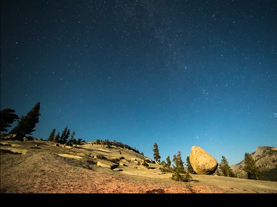 Olmsted Point Yosemite National Park Moon set to black sky