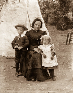 Old woman with children