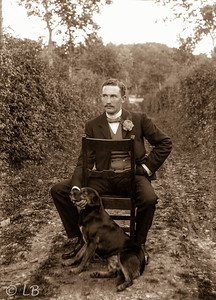 Man seated with dog