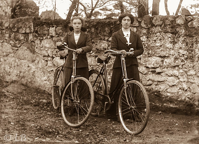 Two women with bicycles