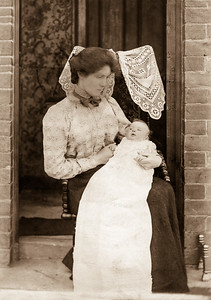 Woman with baby - christening gown