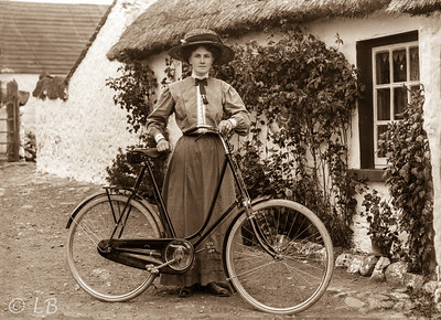 Woman A with hat and bicycle