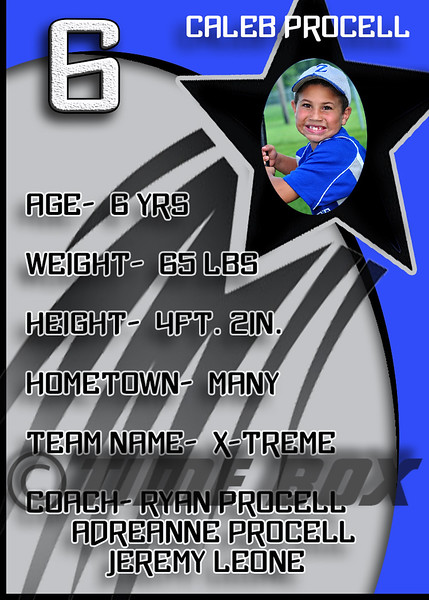 Caleb Procell card back 2014