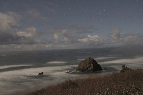 Meteor night shot along Oregon coast