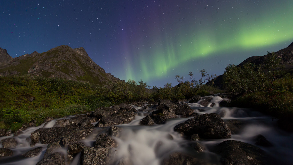 "Time Lapse of the Aurora Borealis (Northern Lights) over Archangel Creek and the Talkeetna Mountains in Archangel Valley at Hatcher Pass in Southcentral, Alaska.  August 24, 2013  Song ""Rainbow Noise"" by <a href=""http://torley.com/4/""target=""_blank""><b>""Torley""</b></a>  Best viewed in Hi-Def"