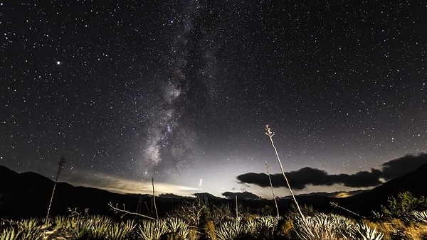 Late Season Milky Way Over Anza-Borrego Desert Landscape Southwest of Blair Valley