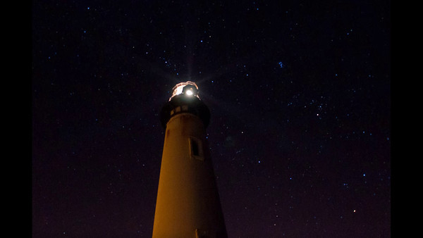 Pigeon Point Lighthouse night Time-lapse at f/2.8 @ 2sec. every 9 seconds 6400 ISO. Playback is 24 frames per second. The light is the modern 6 beam fresnel lens that sits on the balcony platform.