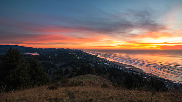 Sunset on the Knoll Over Lincoln City, OR.