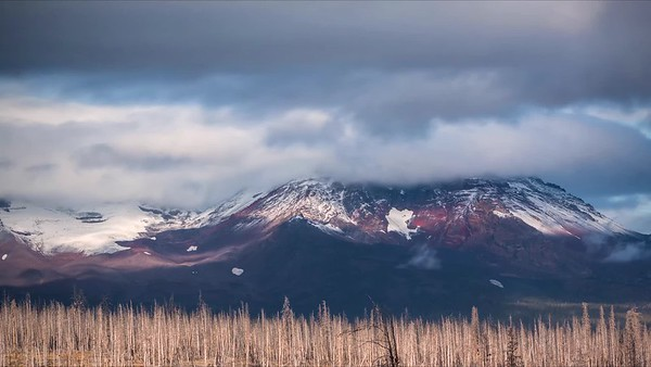Fresh Snow Clouds Over North Sister Mountain