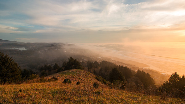 Fog and  Sunset over Lincoln City Oregon