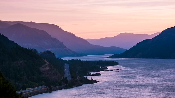 Sunset Glow Over The Columbia River Gorge