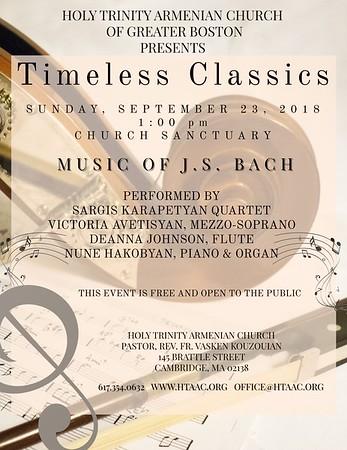 """Timeless Classics - The Music of J.S. Bach,"" September 23, 2018"