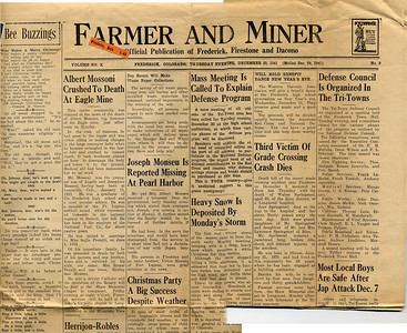 Farmer and Miner frontpage, Christmas 1941: Albert Mossoni Death in Mine Accident