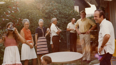 Anna's Christening at Berea House: Joanne, Gramma Edit, Aunt Sally, Papa Frank, Fr Jake, Bill Keating, Jay Mueller