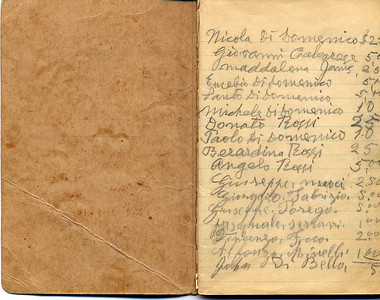 Josephine Domenico 12th Grade Notebook with Lists of Contributions to Church In Castiglione, Page 1