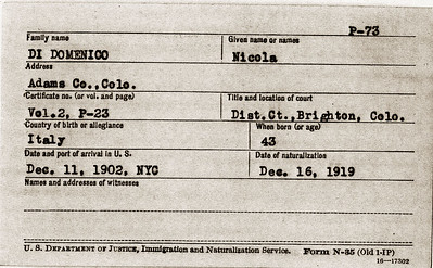 US Citizenship Card for Nicola Di Domenico
