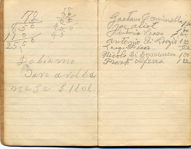 Josephine Domenico 12th Grade Notebook with Lists of Contributions to Church In Castiglione, Pages 3 and 4