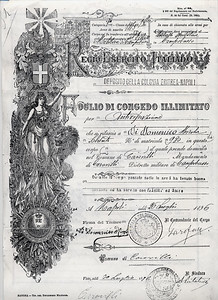 Nicola Di Domenico Discharge Papers from Italian Army