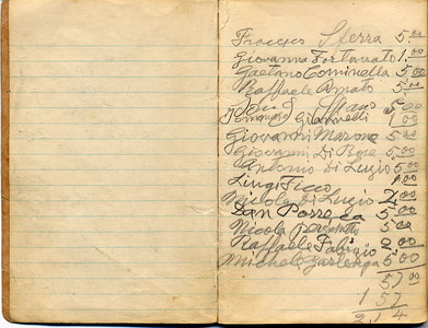 Josephine Domenico 12th Grade Notebook with Lists of Contributions to Church In Castiglione, Page 2