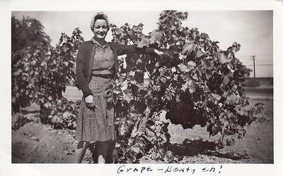 Gramma Edith checks grapes in California 1941