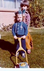 Danny and Anna Mowing Lawn on Berea circa 1976